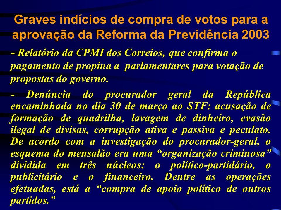 Graves indícios de compra de votos para a aprovação da Reforma da Previdência 2003 - Relatório da CPMI dos Correios, que confirma o pagamento de propi