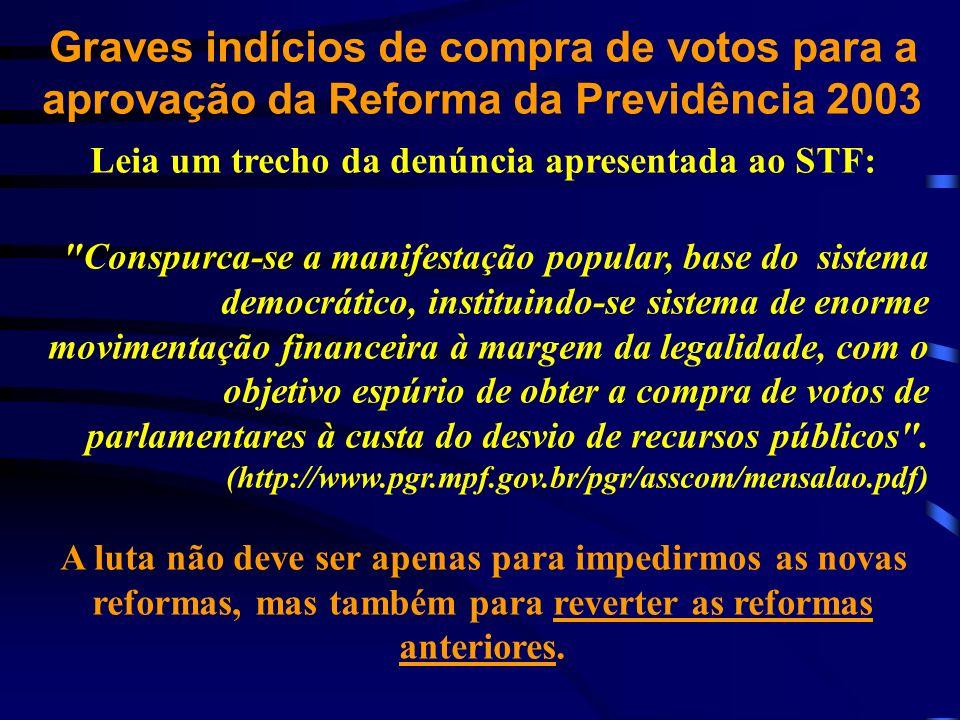Graves indícios de compra de votos para a aprovação da Reforma da Previdência 2003 Leia um trecho da denúncia apresentada ao STF:
