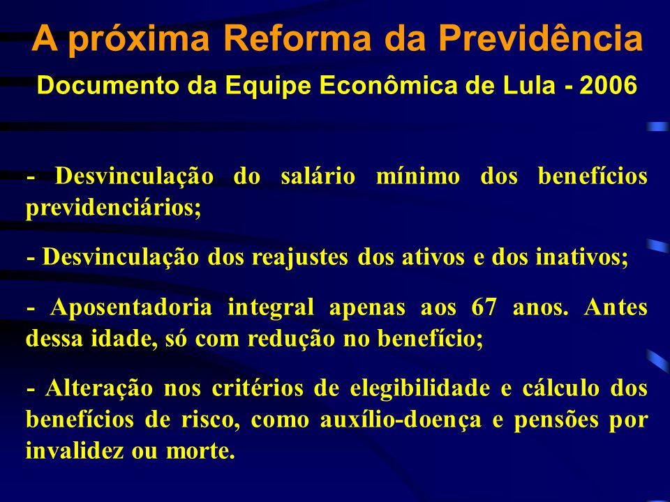 A próxima Reforma da Previdência Documento da Equipe Econômica de Lula - 2006 - Desvinculação do salário mínimo dos benefícios previdenciários; - Desv