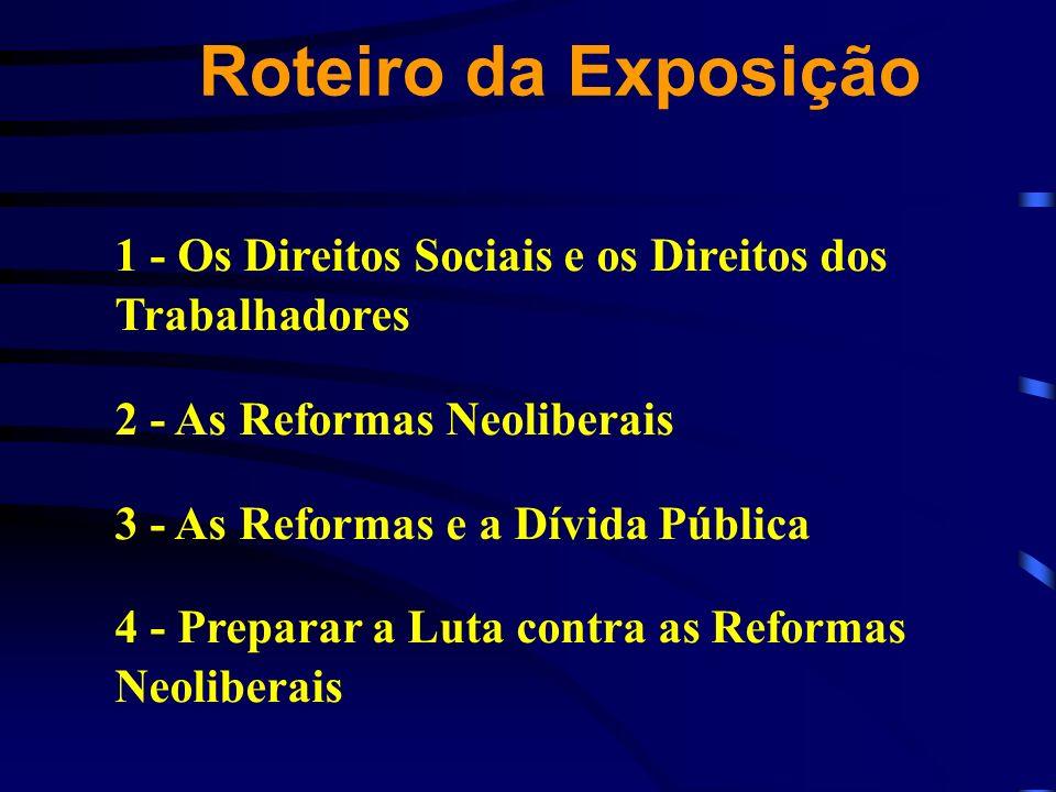 Roteiro da Exposição 1 - Os Direitos Sociais e os Direitos dos Trabalhadores 2 - As Reformas Neoliberais 3 - As Reformas e a Dívida Pública 4 - Prepar