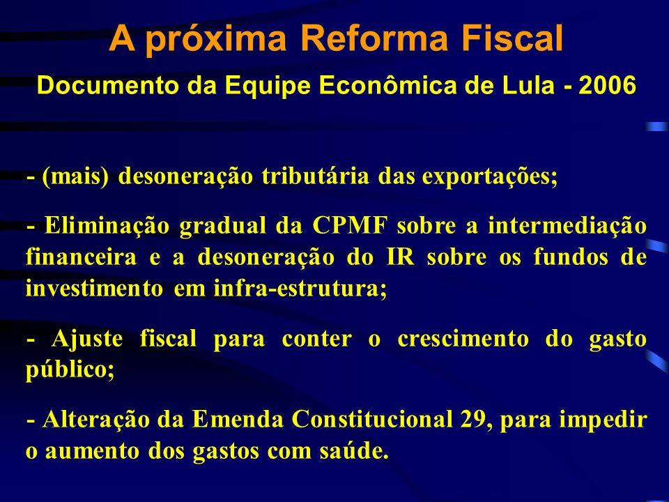A próxima Reforma Fiscal Documento da Equipe Econômica de Lula - 2006 - (mais) desoneração tributária das exportações; - Eliminação gradual da CPMF so