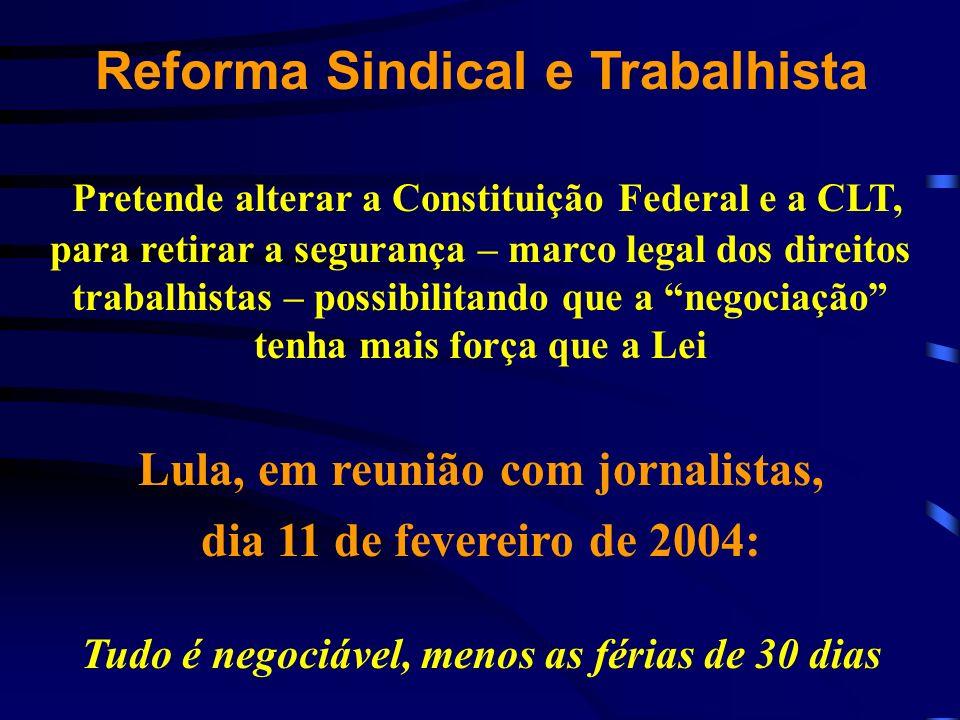 Reforma Sindical e Trabalhista Pretende alterar a Constituição Federal e a CLT, para retirar a segurança – marco legal dos direitos trabalhistas – pos