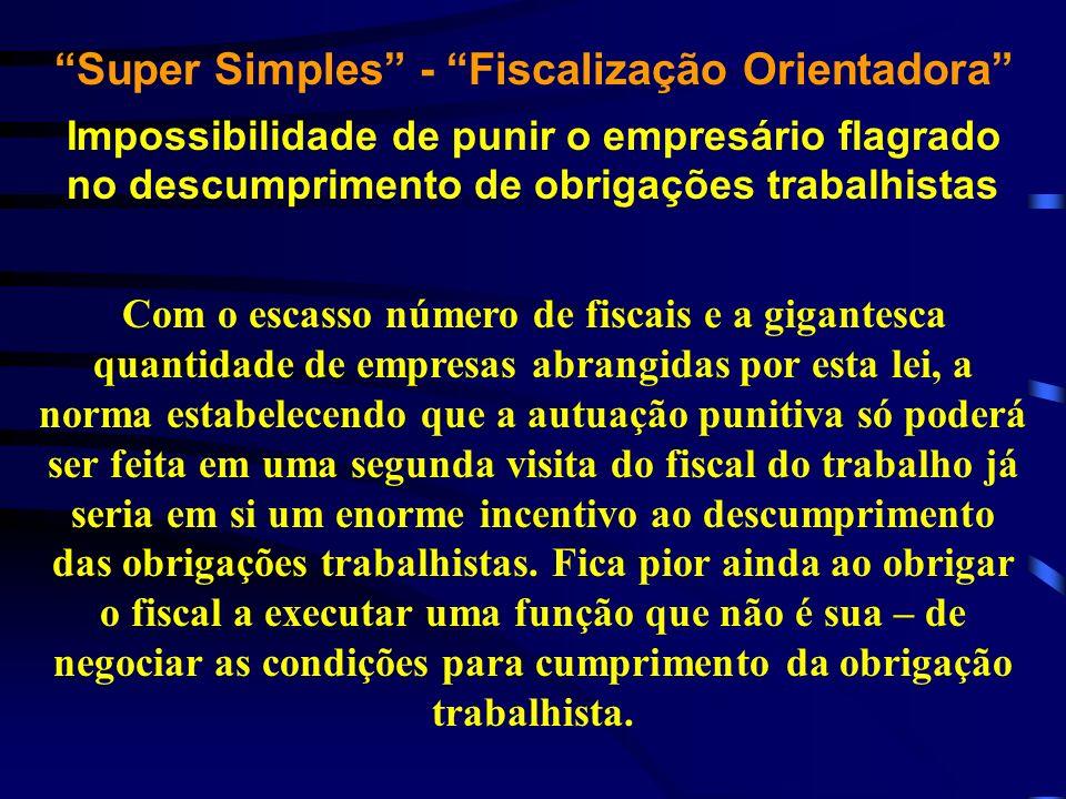 Super Simples - Fiscalização Orientadora Impossibilidade de punir o empresário flagrado no descumprimento de obrigações trabalhistas Com o escasso núm