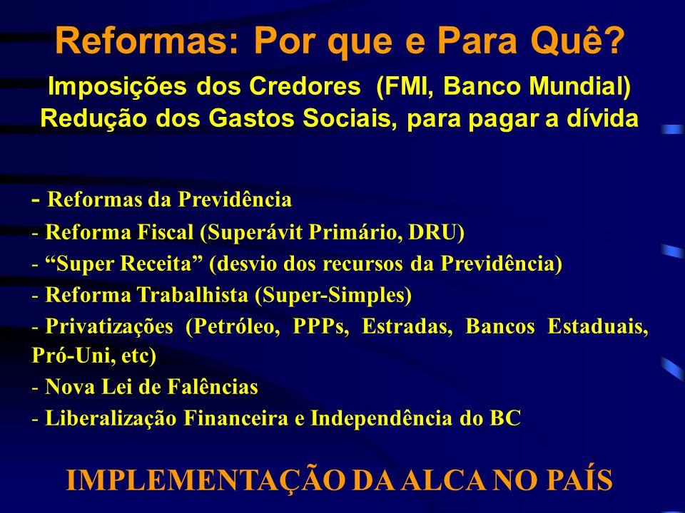 Reformas: Por que e Para Quê? Imposições dos Credores (FMI, Banco Mundial) Redução dos Gastos Sociais, para pagar a dívida - Reformas da Previdência -