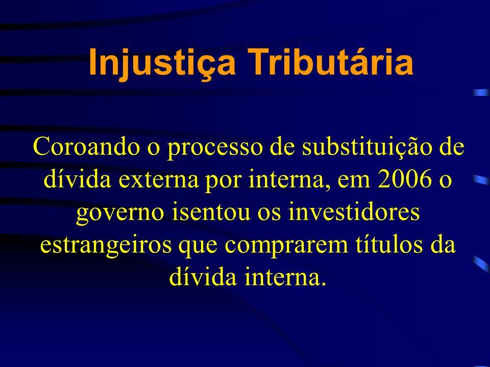 Coroando o processo de substituição de dívida externa por interna, em 2006 o governo isentou os investidores estrangeiros que comprarem títulos da dív