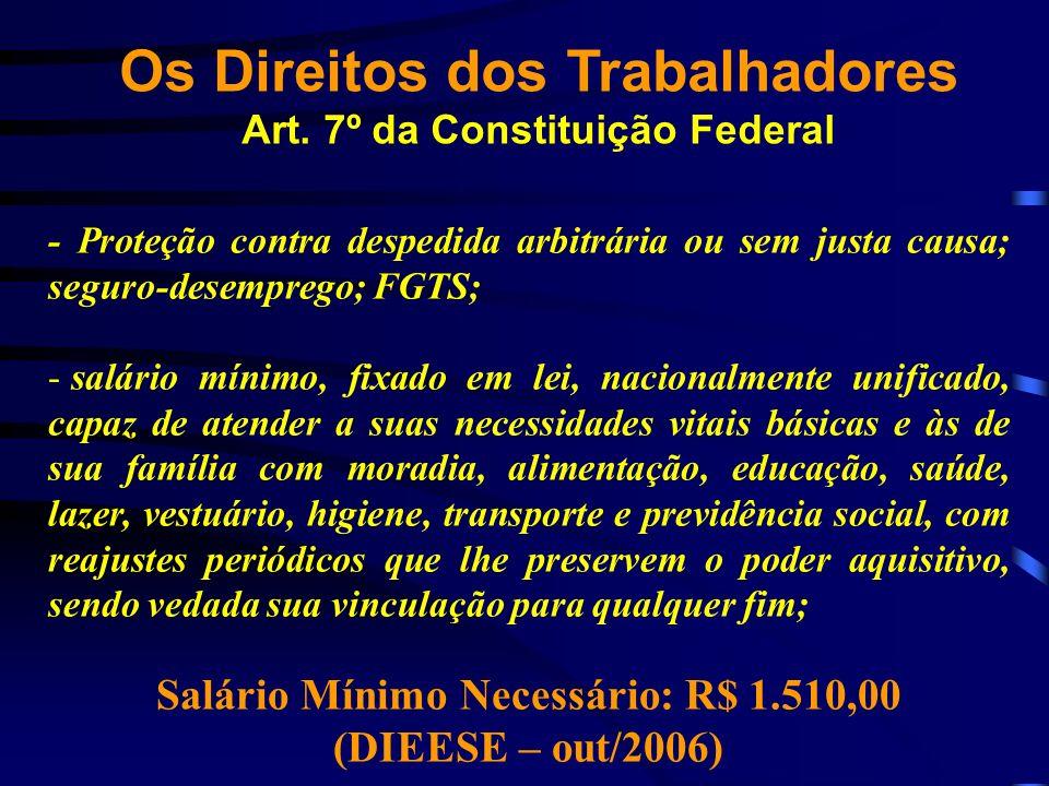 Os Direitos dos Trabalhadores Art. 7º da Constituição Federal - Proteção contra despedida arbitrária ou sem justa causa; seguro-desemprego; FGTS; - sa