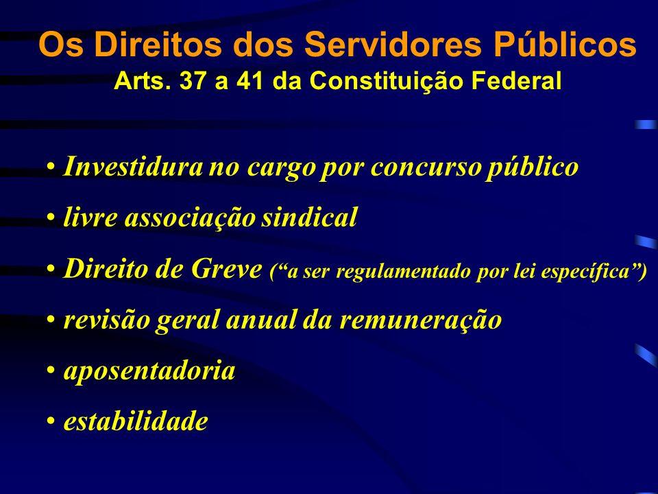 Investidura no cargo por concurso público livre associação sindical Direito de Greve (a ser regulamentado por lei específica) revisão geral anual da r