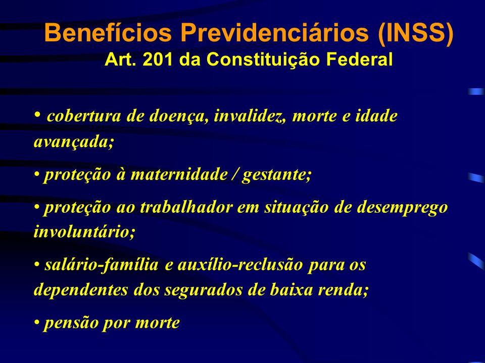 cobertura de doença, invalidez, morte e idade avançada; proteção à maternidade / gestante; proteção ao trabalhador em situação de desemprego involuntá