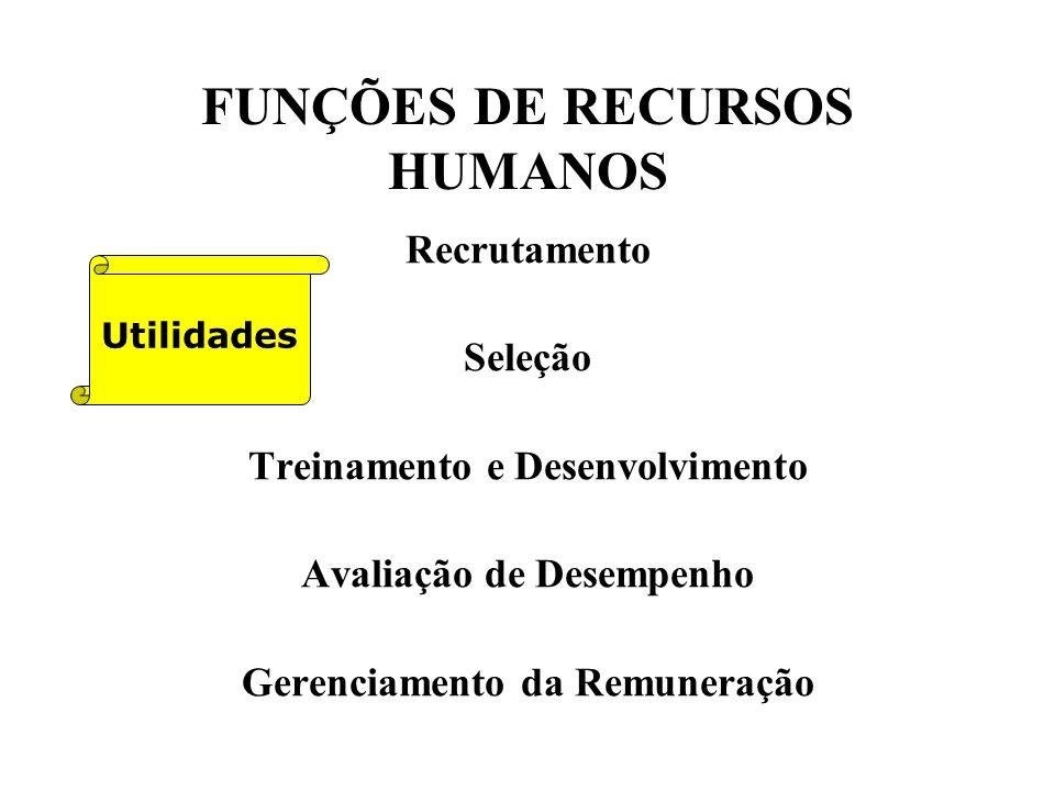 FUNÇÕES DE RECURSOS HUMANOS Recrutamento Seleção Treinamento e Desenvolvimento Avaliação de Desempenho Gerenciamento da Remuneração Utilidades