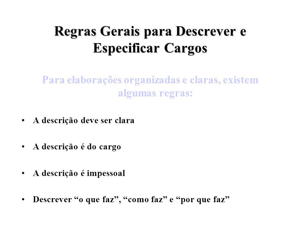 Regras Gerais para Descrever e Especificar Cargos Para elaborações organizadas e claras, existem algumas regras: A descrição deve ser clara A descriçã