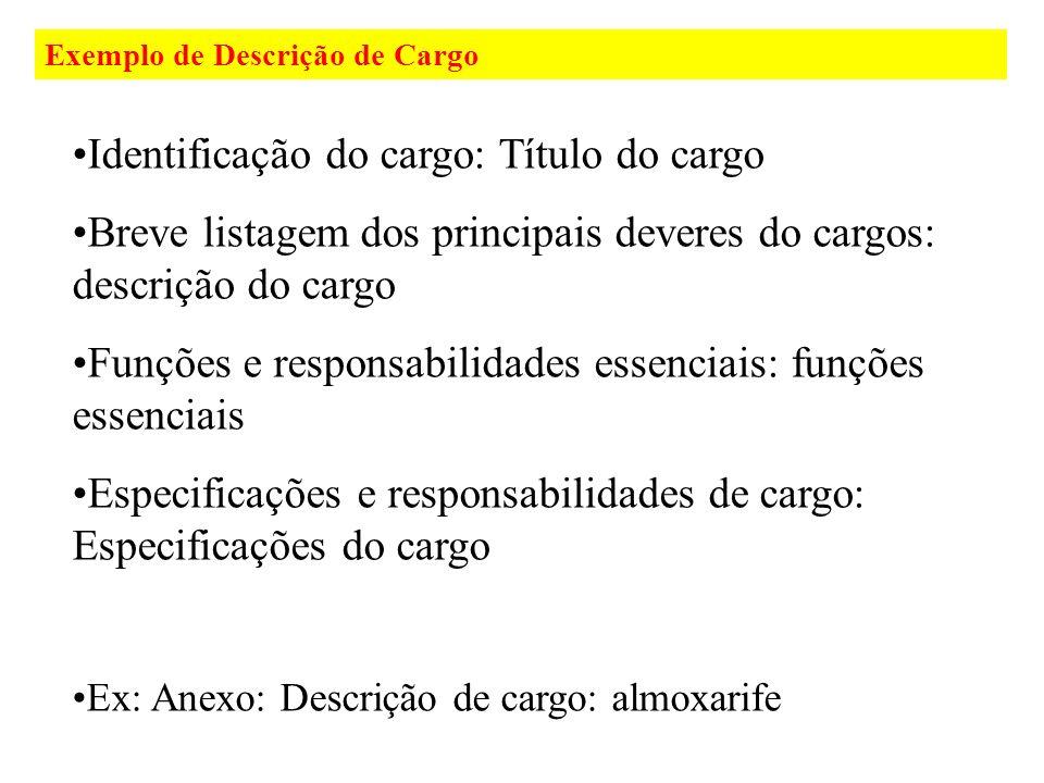 Exemplo de Descrição de Cargo Identificação do cargo: Título do cargo Breve listagem dos principais deveres do cargos: descrição do cargo Funções e re
