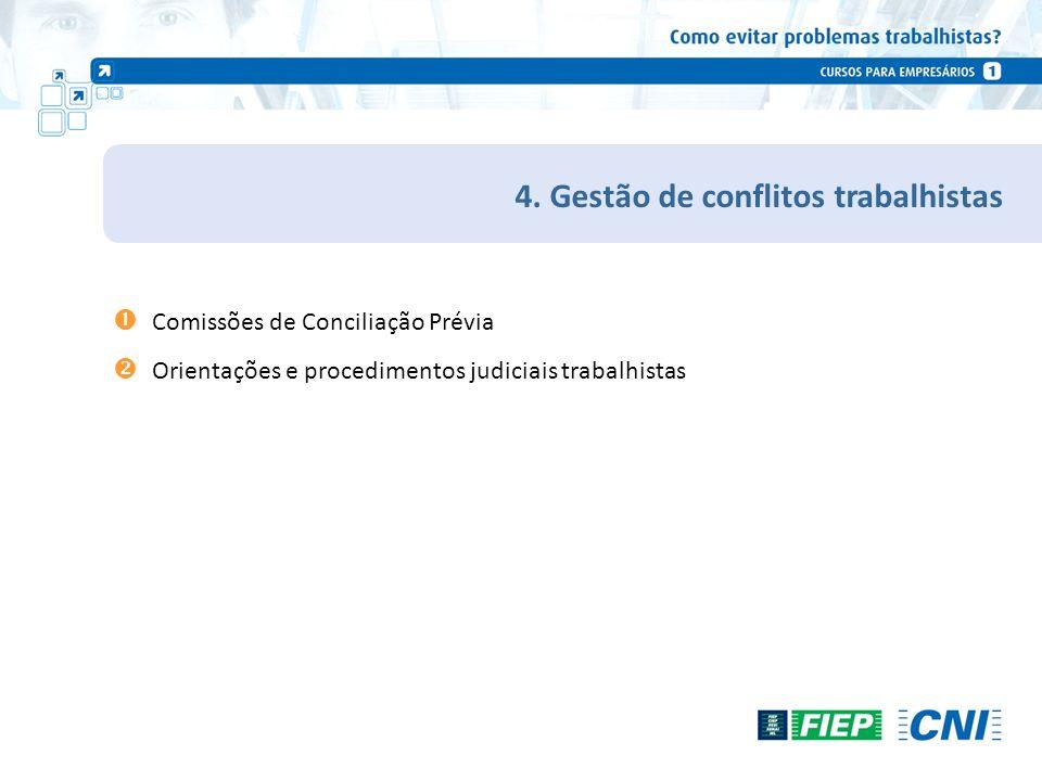 4. Gestão de conflitos trabalhistas Comissões de Conciliação Prévia Orientações e procedimentos judiciais trabalhistas