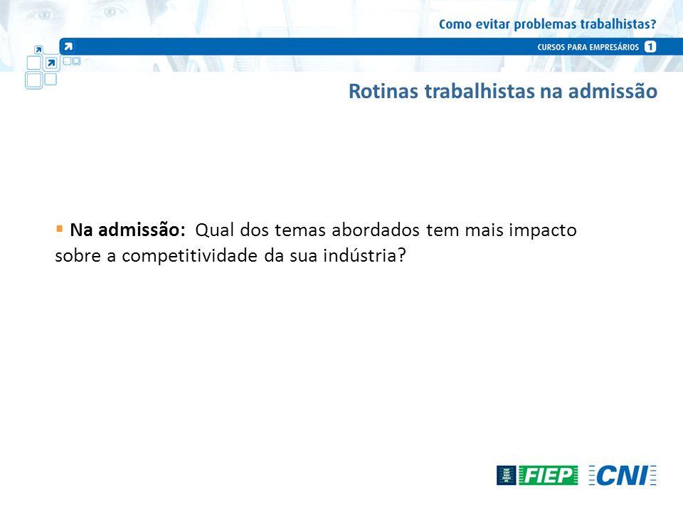Rotinas trabalhistas na admissão Na admissão: Qual dos temas abordados tem mais impacto sobre a competitividade da sua indústria?