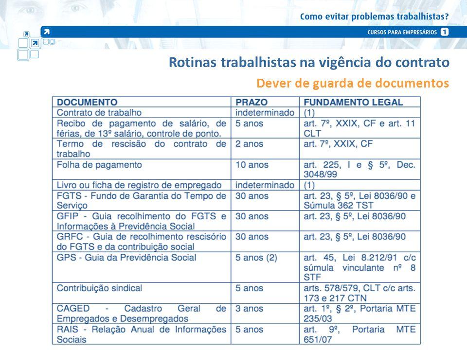 Rotinas trabalhistas na vigência do contrato Dever de guarda de documentos