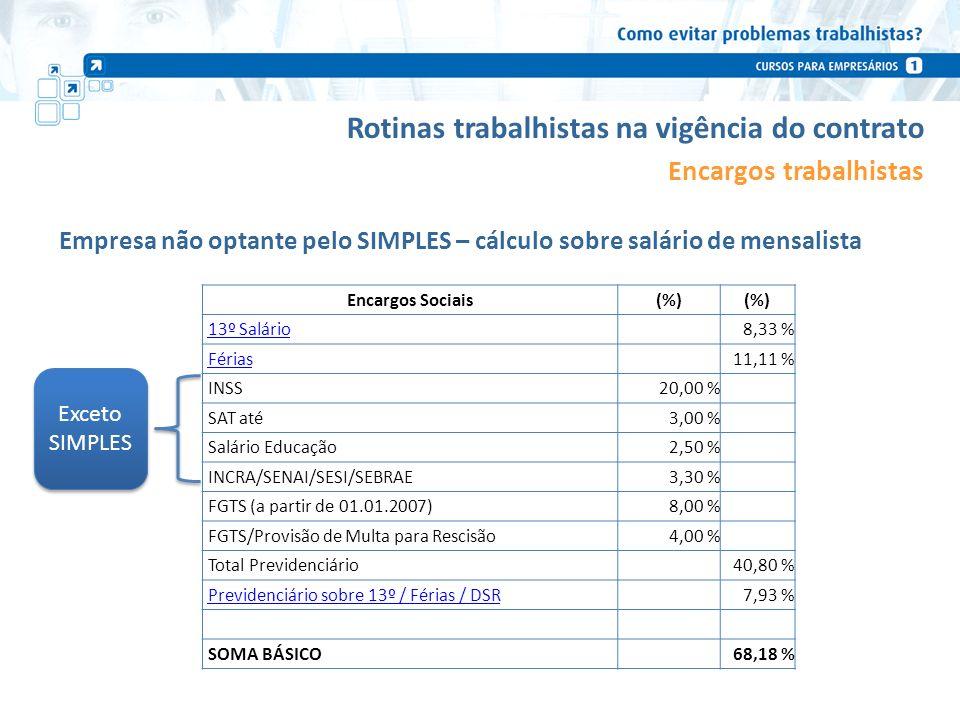 Rotinas trabalhistas na vigência do contrato Encargos trabalhistas Empresa não optante pelo SIMPLES – cálculo sobre salário de mensalista Encargos Soc