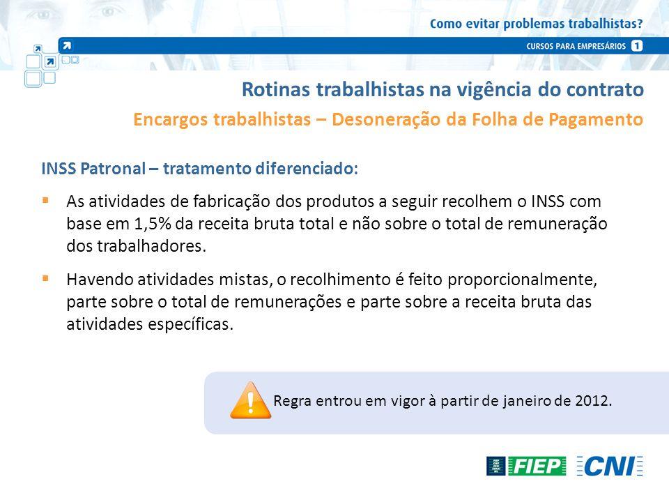 Rotinas trabalhistas na vigência do contrato Encargos trabalhistas – Desoneração da Folha de Pagamento INSS Patronal – tratamento diferenciado: As ati