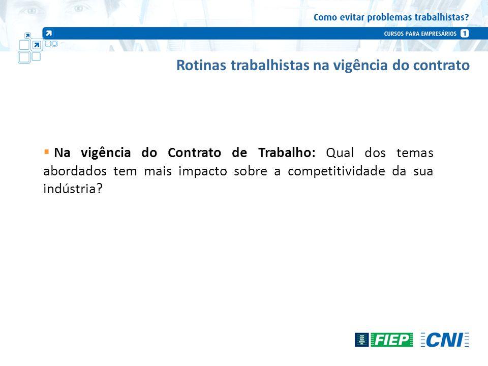 Rotinas trabalhistas na vigência do contrato Na vigência do Contrato de Trabalho: Qual dos temas abordados tem mais impacto sobre a competitividade da