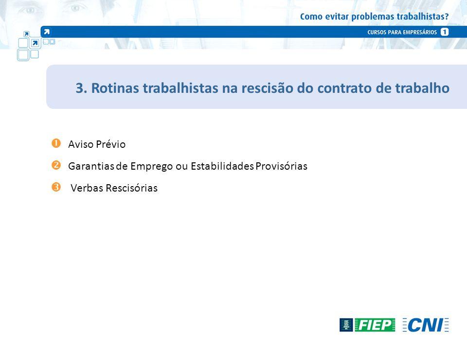 3. Rotinas trabalhistas na rescisão do contrato de trabalho Aviso Prévio Garantias de Emprego ou Estabilidades Provisórias Verbas Rescisórias