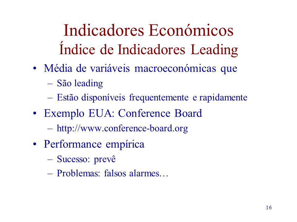 16 Indicadores Económicos Índice de Indicadores Leading Média de variáveis macroeconómicas que –São leading –Estão disponíveis frequentemente e rapidamente Exemplo EUA: Conference Board –http://www.conference-board.org Performance empírica –Sucesso: prevê –Problemas: falsos alarmes…