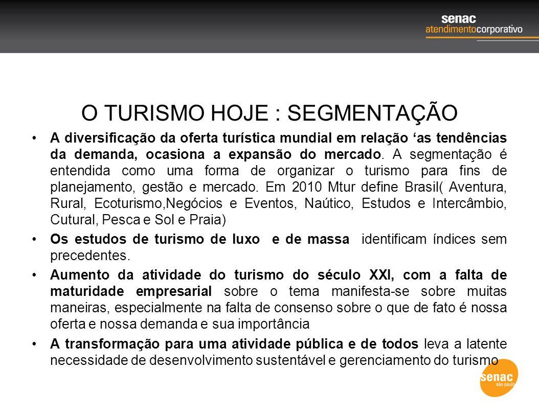 O TURISMO HOJE : SEGMENTAÇÃO A diversificação da oferta turística mundial em relação as tendências da demanda, ocasiona a expansão do mercado. A segme