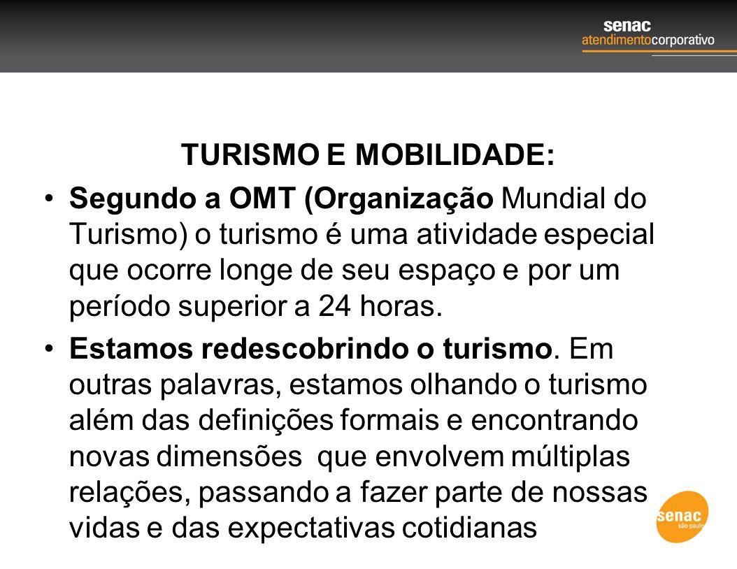 TURISMO E MOBILIDADE: Segundo a OMT (Organização Mundial do Turismo) o turismo é uma atividade especial que ocorre longe de seu espaço e por um períod