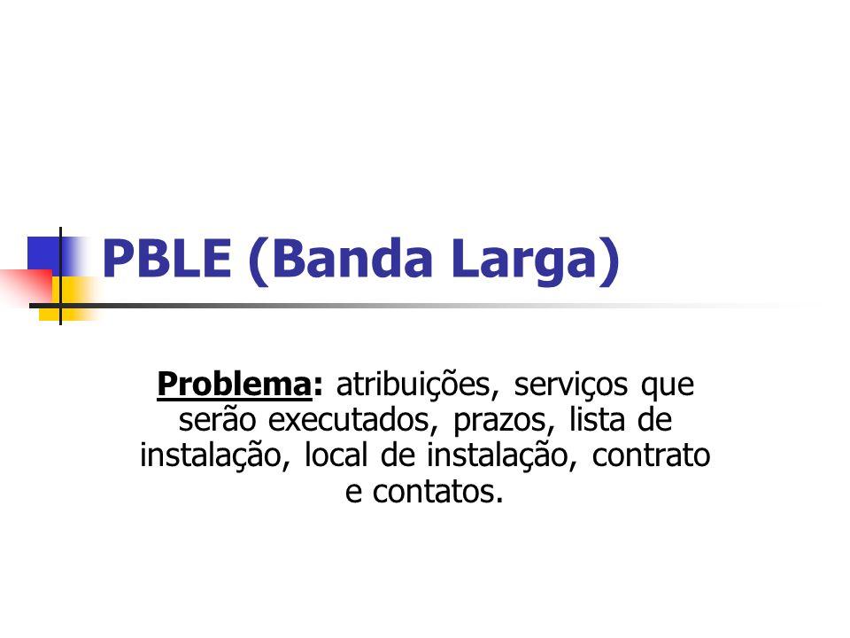 PBLE (Banda Larga) Problema: atribuições, serviços que serão executados, prazos, lista de instalação, local de instalação, contrato e contatos.