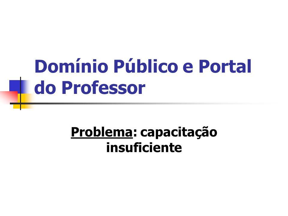 Domínio Público e Portal do Professor Problema: capacitação insuficiente