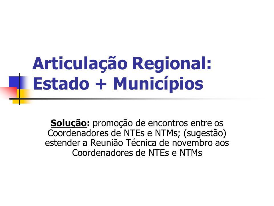 Articulação Regional: Estado + Municípios Solução: promoção de encontros entre os Coordenadores de NTEs e NTMs; (sugestão) estender a Reunião Técnica de novembro aos Coordenadores de NTEs e NTMs