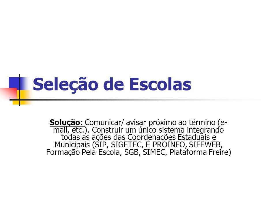 Seleção de Escolas Solução: Comunicar/ avisar próximo ao término (e- mail, etc.).