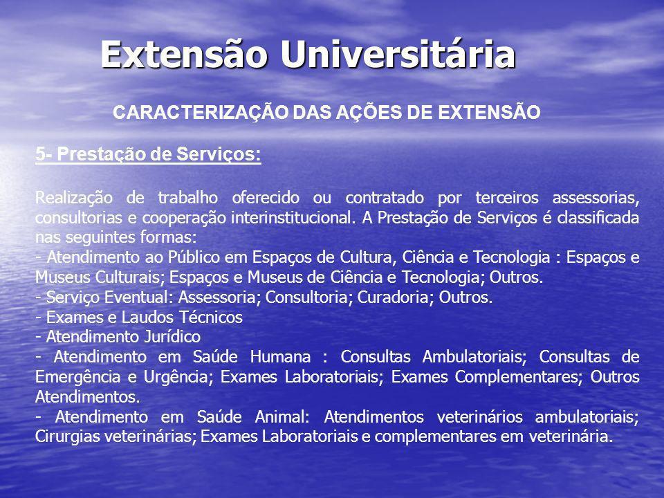Extensão Universitária CARACTERIZAÇÃO DAS AÇÕES DE EXTENSÃO 5- Prestação de Serviços: Realização de trabalho oferecido ou contratado por terceiros ass