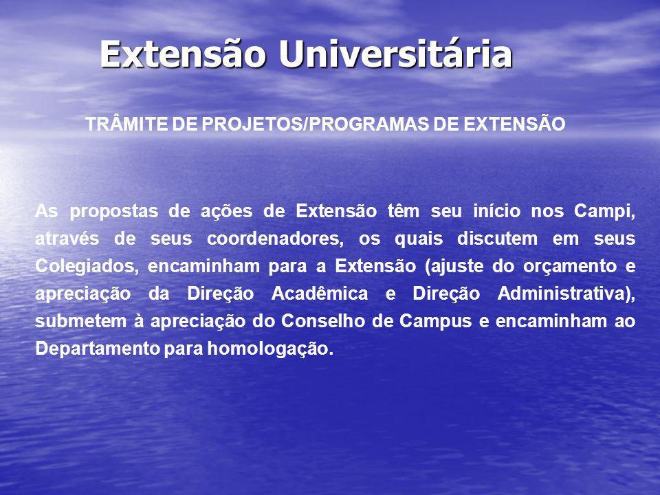 Extensão Universitária TRÂMITE DE PROJETOS/PROGRAMAS DE EXTENSÃO As propostas de ações de Extensão têm seu início nos Campi, através de seus coordenad