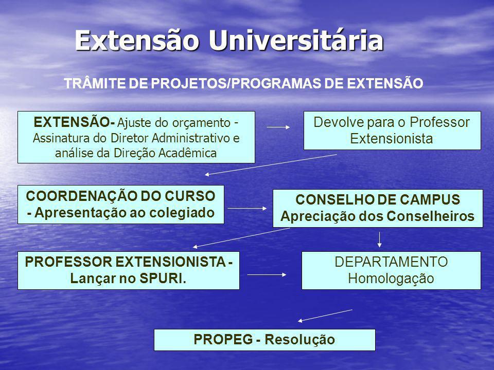 Extensão Universitária TRÂMITE DE PROJETOS/PROGRAMAS DE EXTENSÃO EXTENSÃO- Ajuste do orçamento - Assinatura do Diretor Administrativo e análise da Dir