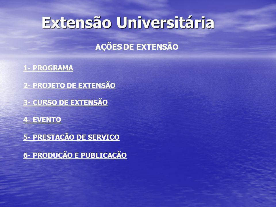 Extensão Universitária AÇÕES DE EXTENSÃO 1- PROGRAMA 2- PROJETO DE EXTENSÃO 3- CURSO DE EXTENSÃO 4- EVENTO 5- PRESTAÇÃO DE SERVIÇO 6- PRODUÇÃO E PUBLI