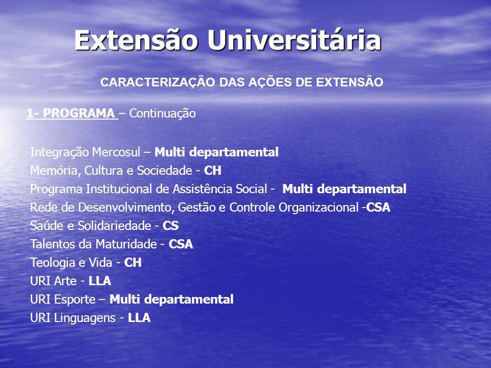 Extensão Universitária CARACTERIZAÇÃO DAS AÇÕES DE EXTENSÃO 2- Projeto de Extensão – Conjunto de ações processuais contínuas, de caráter comunitário, educativo, cultural científico, científico e tecnológico vinculado a um programa.