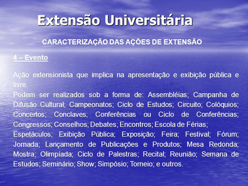 Extensão Universitária CARACTERIZAÇÃO DAS AÇÕES DE EXTENSÃO 4 – Evento Ação extensionista que implica na apresentação e exibição pública e livre. Pode