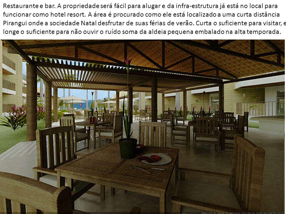 Restaurante e bar. A propriedade será fácil para alugar e da infra-estrutura já está no local para funcionar como hotel resort. A área é procurado com