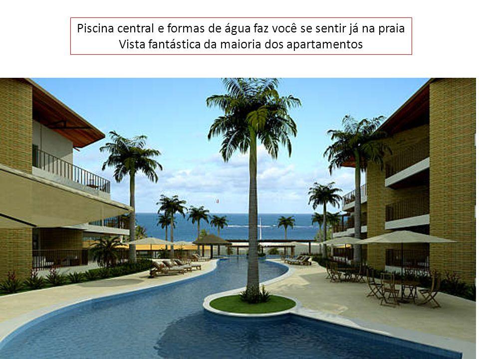 Piscina central e formas de água faz você se sentir já na praia Vista fantástica da maioria dos apartamentos