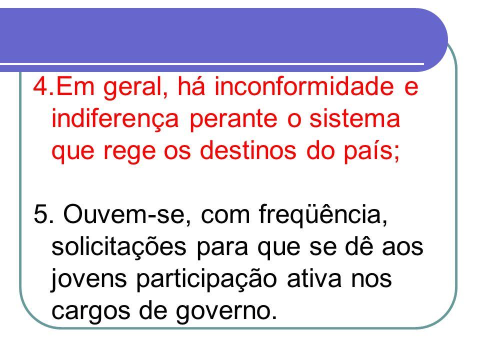 4.Em geral, há inconformidade e indiferença perante o sistema que rege os destinos do país; 5. Ouvem-se, com freqüência, solicitações para que se dê a