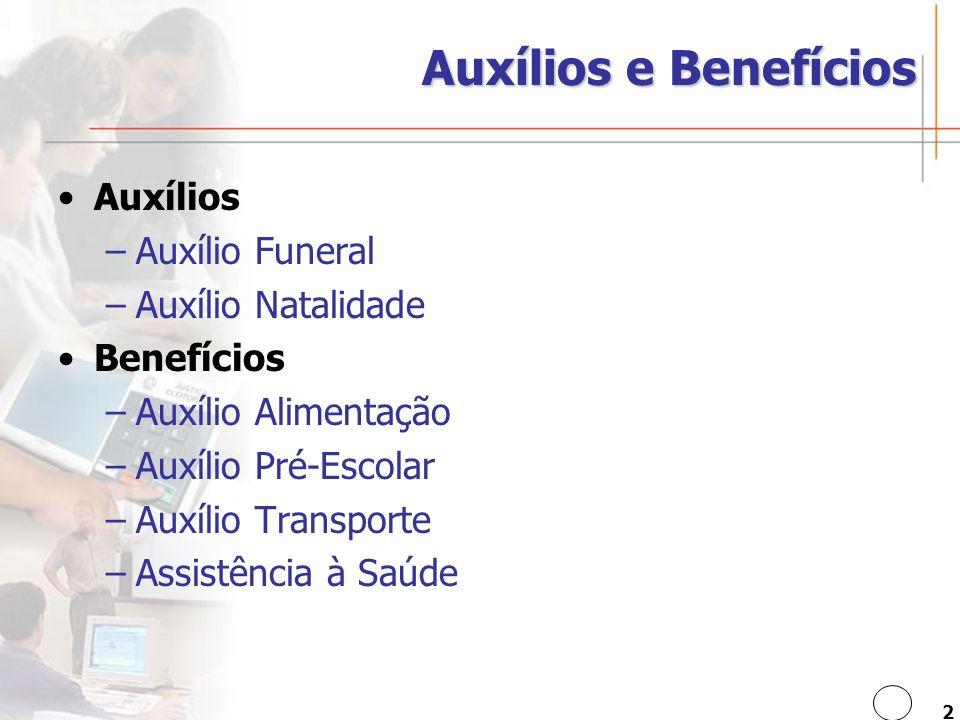 2 Auxílios e Benefícios Auxílios –Auxílio Funeral –Auxílio Natalidade Benefícios –Auxílio Alimentação –Auxílio Pré-Escolar –Auxílio Transporte –Assistência à Saúde