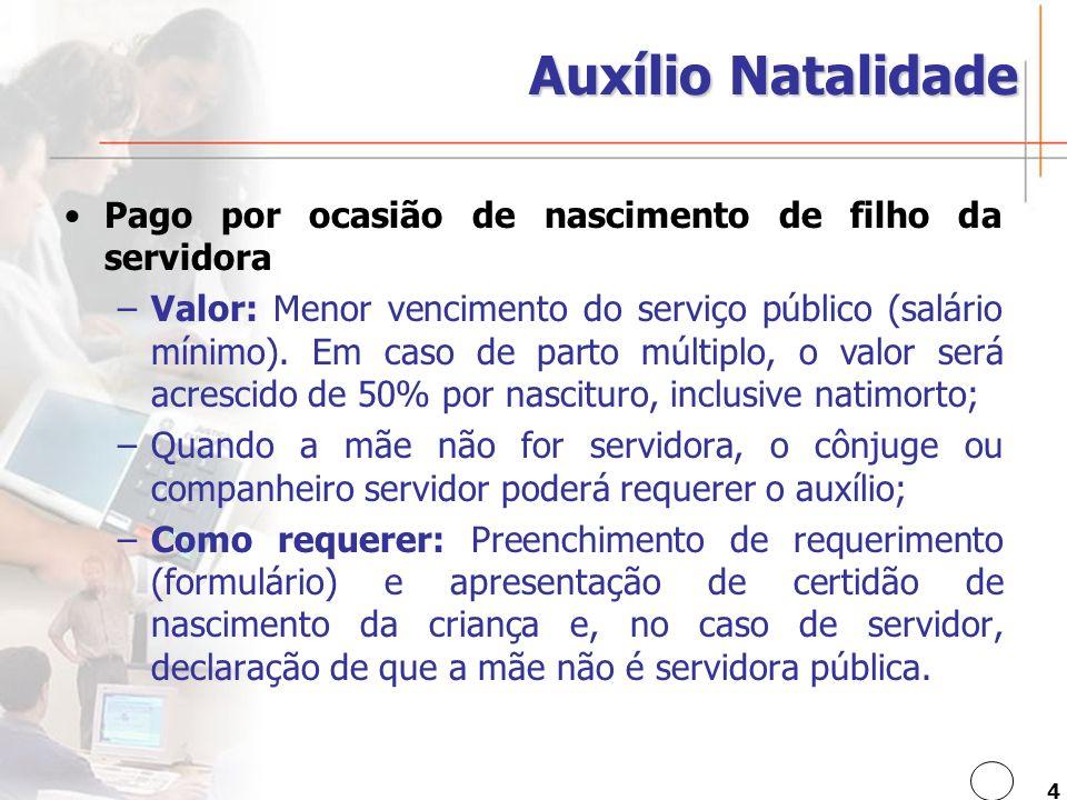 4 Auxílio Natalidade Pago por ocasião de nascimento de filho da servidora –Valor: Menor vencimento do serviço público (salário mínimo).
