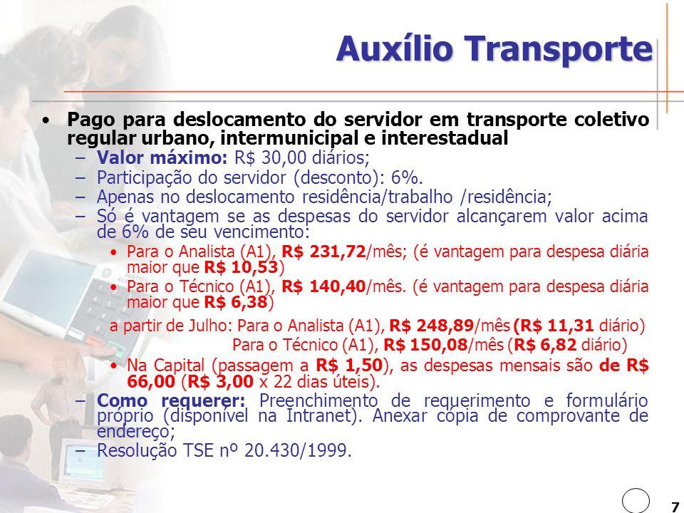 7 Auxílio Transporte Pago para deslocamento do servidor em transporte coletivo regular urbano, intermunicipal e interestadual –Valor máximo: R$ 30,00 diários; –Participação do servidor (desconto): 6%.