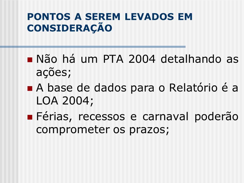 PONTOS A SEREM LEVADOS EM CONSIDERAÇÃO Não há um PTA 2004 detalhando as ações; A base de dados para o Relatório é a LOA 2004; Férias, recessos e carnaval poderão comprometer os prazos;