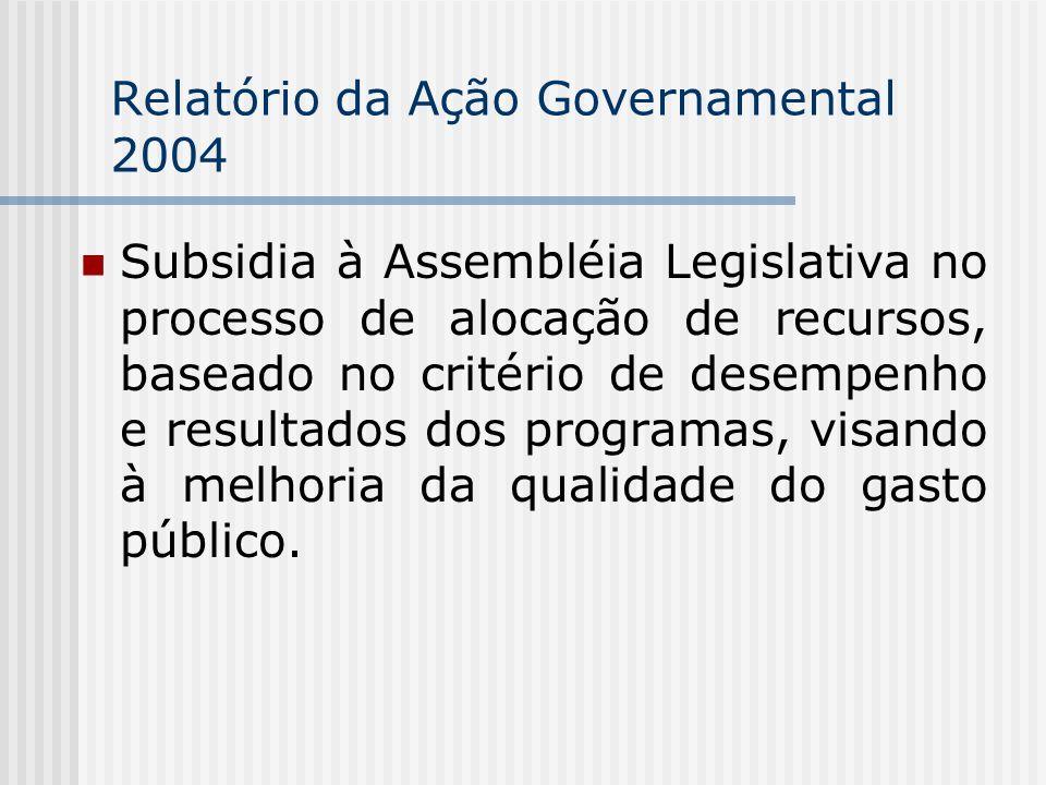 Relatório da Ação Governamental 2004 Subsidia à Assembléia Legislativa no processo de alocação de recursos, baseado no critério de desempenho e resultados dos programas, visando à melhoria da qualidade do gasto público.