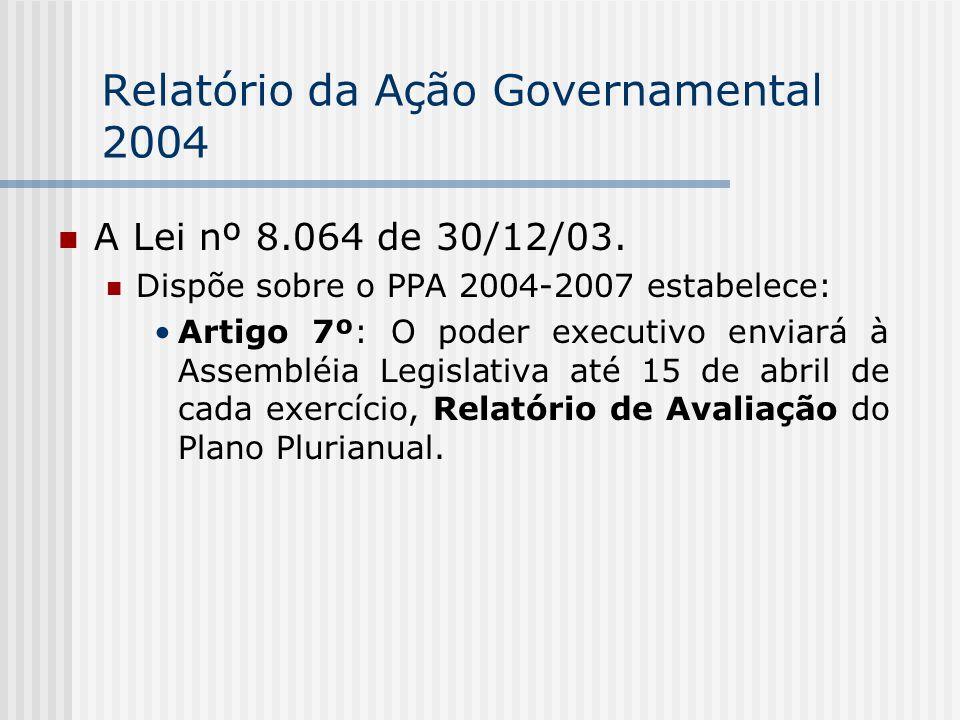 Relatório da Ação Governamental 2004 A Lei nº 8.064 de 30/12/03.