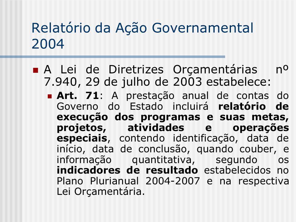Relatório da Ação Governamental 2004 A Lei de Diretrizes Orçamentárias nº 7.940, 29 de julho de 2003 estabelece: Art.