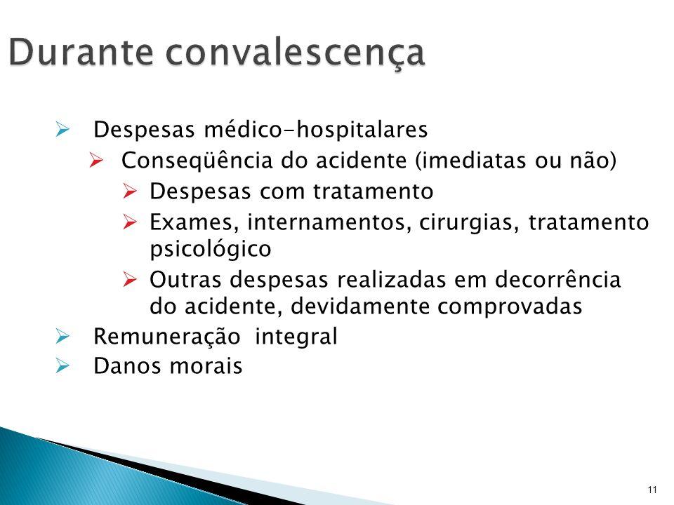 11 Despesas médico-hospitalares Conseqüência do acidente (imediatas ou não) Despesas com tratamento Exames, internamentos, cirurgias, tratamento psico