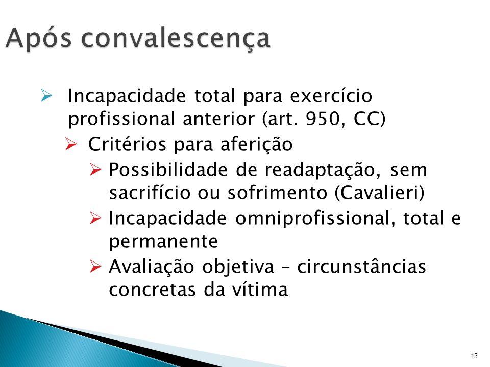 13 Incapacidade total para exercício profissional anterior (art. 950, CC) Critérios para aferição Possibilidade de readaptação, sem sacrifício ou sofr