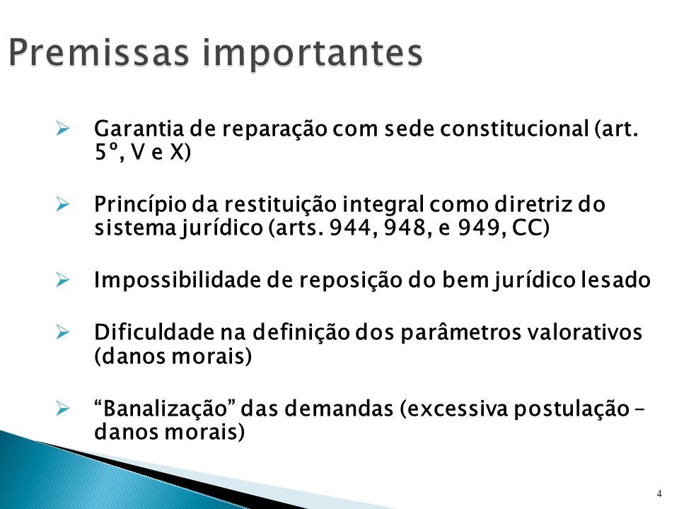 Garantia de reparação com sede constitucional (art. 5º, V e X) Princípio da restituição integral como diretriz do sistema jurídico (arts. 944, 948, e