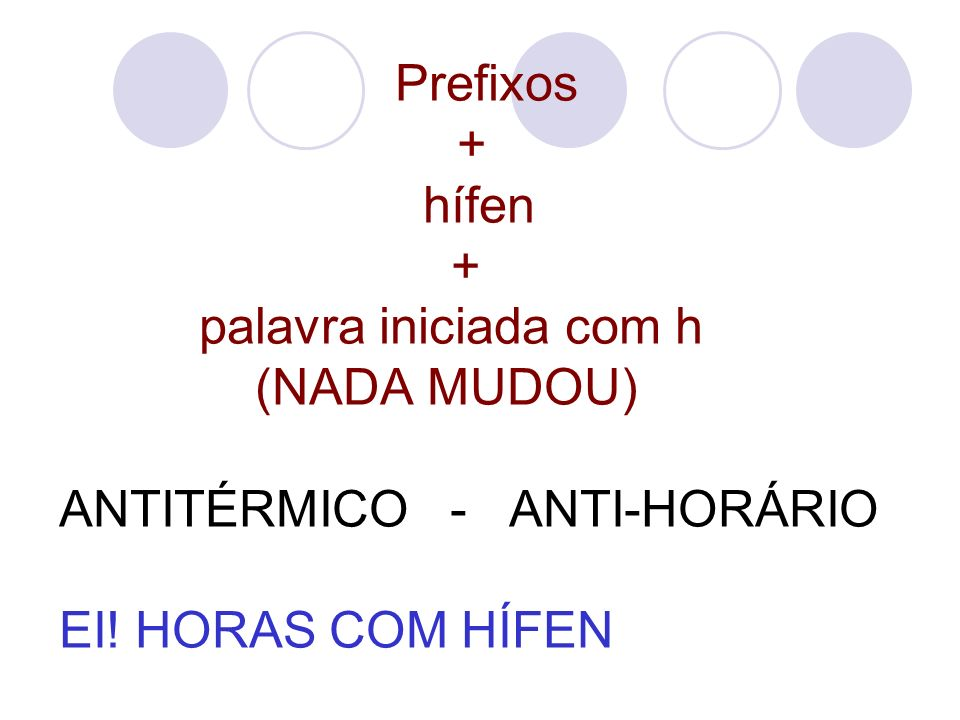 Prefixos + hífen + palavra iniciada com h (NADA MUDOU) ANTITÉRMICO - ANTI-HORÁRIO EI.
