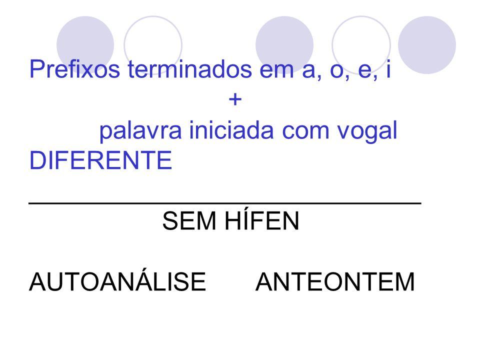 Prefixos terminados em a, o, e, i + palavra iniciada com vogal DIFERENTE ____________________________ SEM HÍFEN AUTOANÁLISE ANTEONTEM